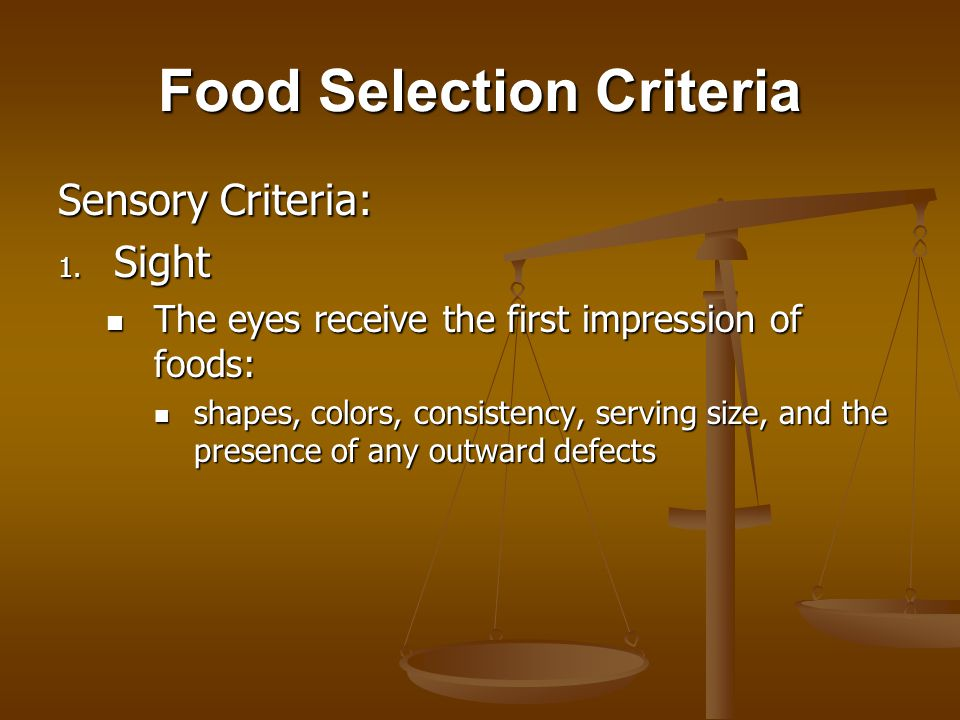 Nutritional Criteria Objective tests: Evaluations of food quality that rely on numbers generated by laboratory instruments, which are used to quantify the physical and chemical differences in foods.