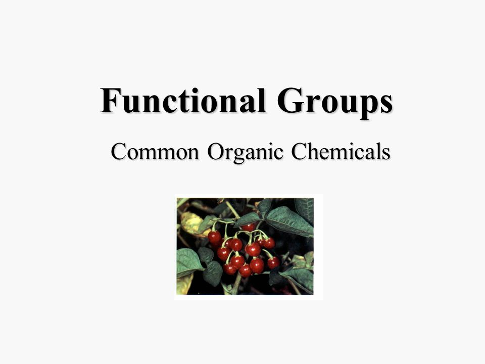 Functional Groups Common Organic Chemicals