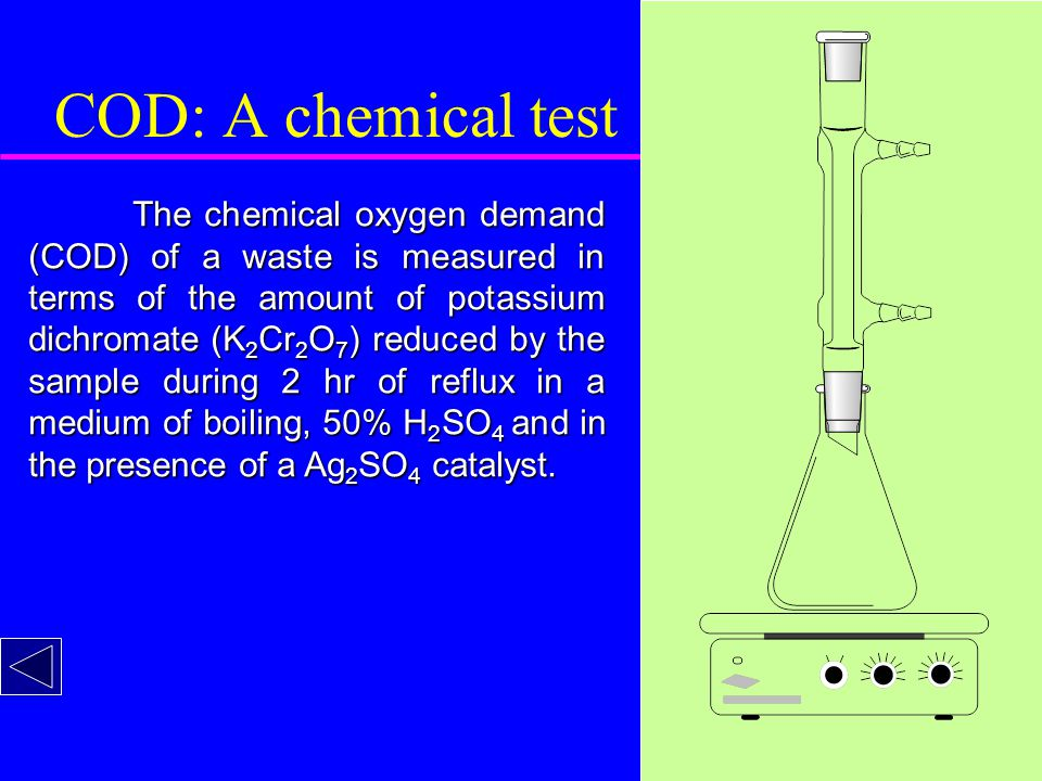 COD: A chemical test The chemical oxygen demand (COD) of a waste is measured in terms of the amount of potassium dichromate (K 2 Cr 2 O 7 ) reduced by the sample during 2 hr of reflux in a medium of boiling, 50% H 2 SO 4 and in the presence of a Ag 2 SO 4 catalyst.