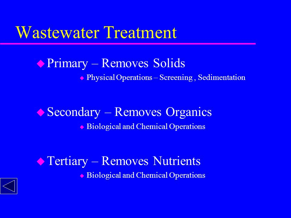 Wastewater Treatment u Primary – Removes Solids u Physical Operations – Screening, Sedimentation u Secondary – Removes Organics u Biological and Chemical Operations u Tertiary – Removes Nutrients u Biological and Chemical Operations