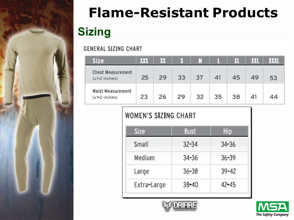 Sizing Flame-Resistant Products