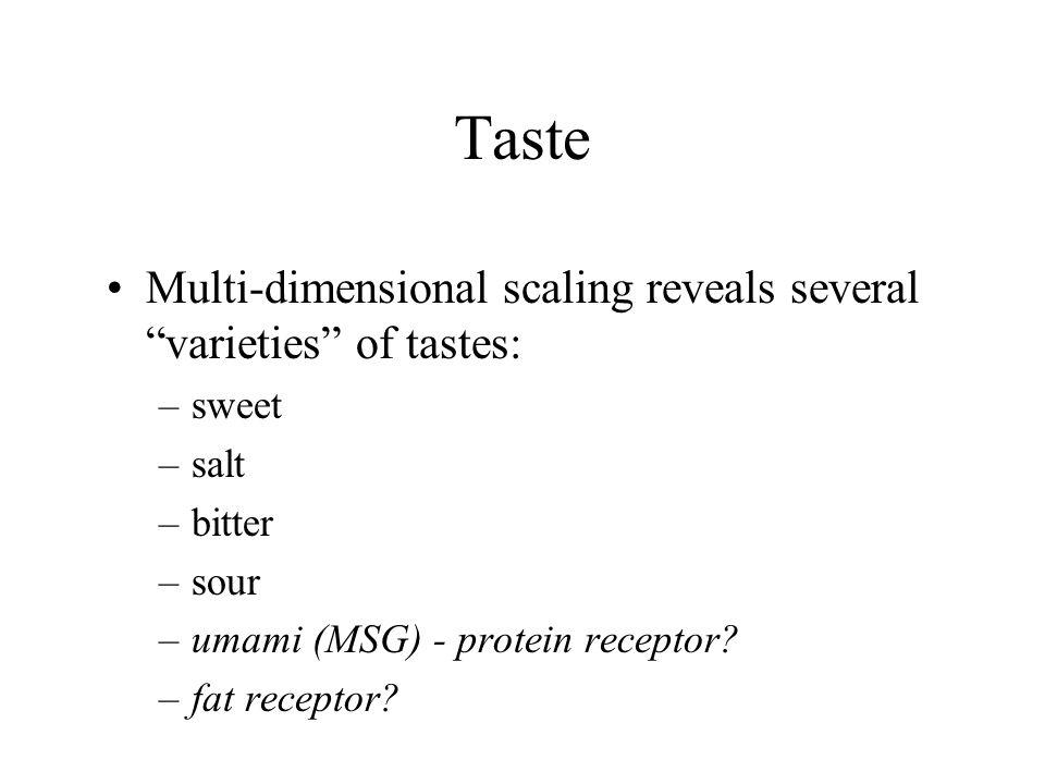Multi-dimensional scaling reveals several varieties of tastes: –sweet –salt –bitter –sour –umami (MSG) - protein receptor.