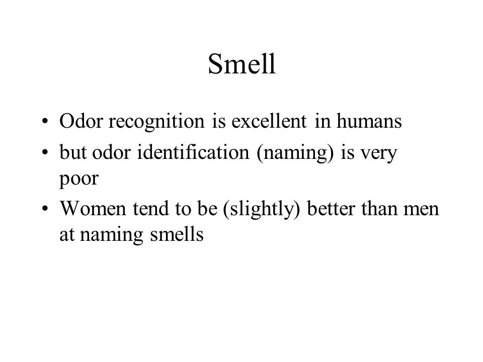 Odor recognition is excellent in humans but odor identification (naming) is very poor Women tend to be (slightly) better than men at naming smells Smell
