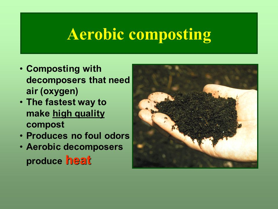 Aerobic composting Composting with decomposers that need air (oxygen) The fastest way to make high quality compost Produces no foul odors heatAerobic