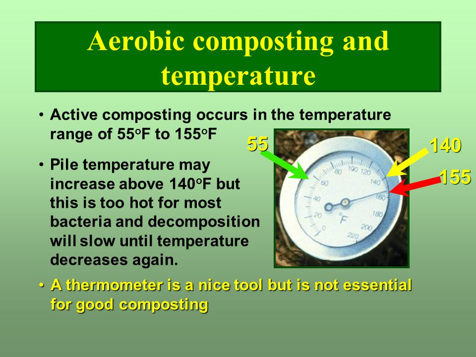 Aerobic composting and temperature A thermometer is a nice tool but is not essential for good compostingA thermometer is a nice tool but is not essent