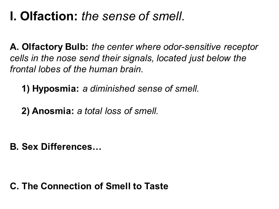I. Olfaction: the sense of smell. A.