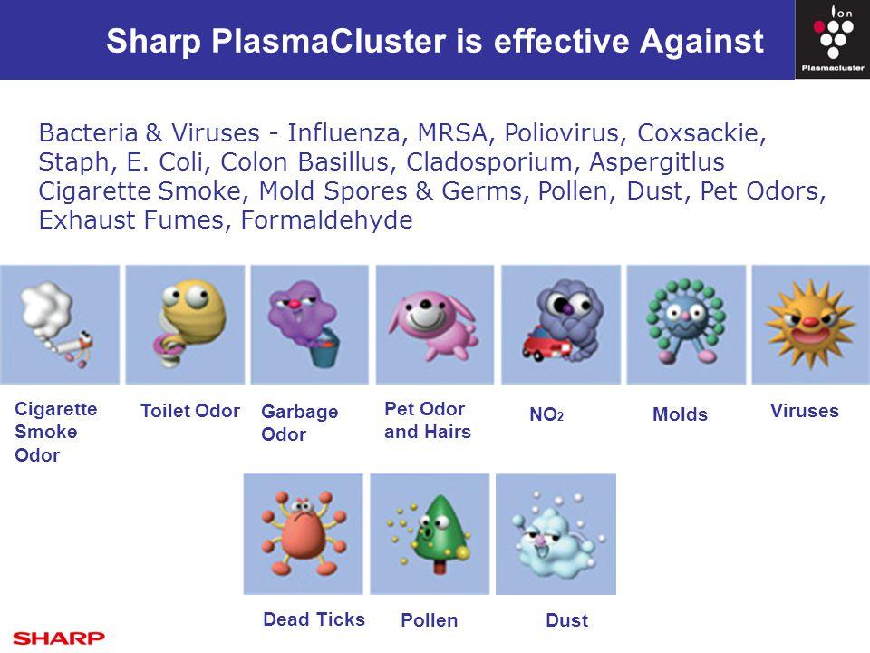 Sharp PlasmaCluster is effective Against Cigarette Smoke Odor Toilet Odor Garbage Odor Pet Odor and Hairs NO 2 Molds Viruses Dust Dead Ticks Pollen Bacteria & Viruses - Influenza, MRSA, Poliovirus, Coxsackie, Staph, E.