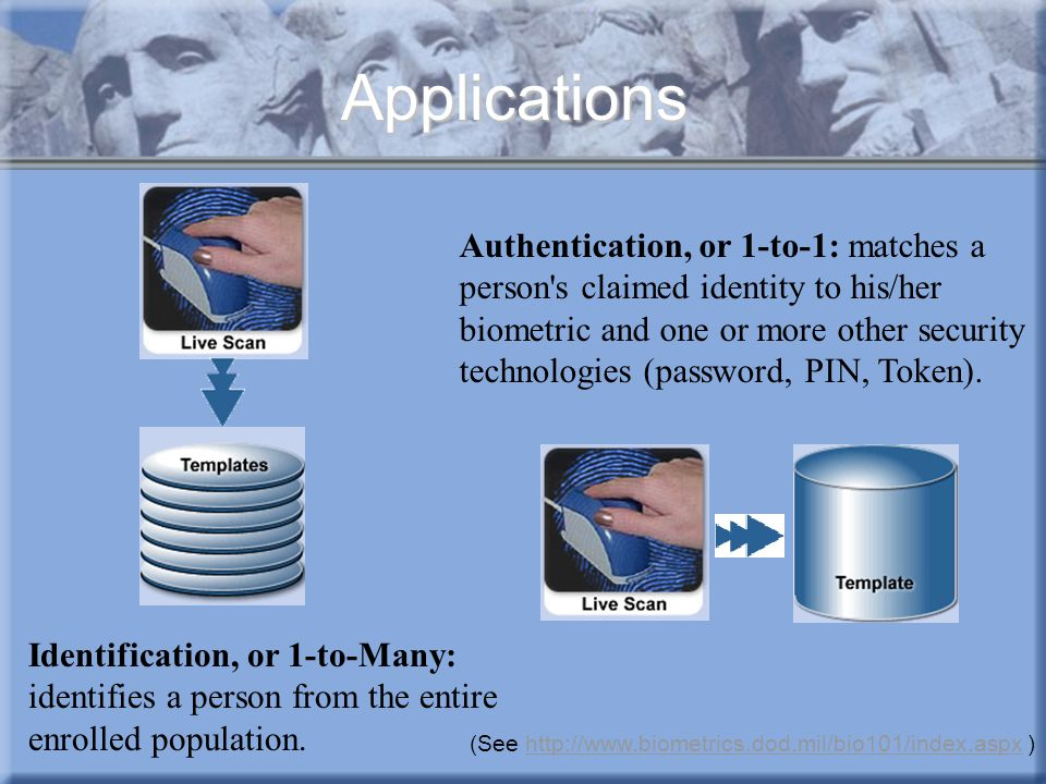 Applications Identification, or 1-to-Many: identifies a person from the entire enrolled population. Authentication, or 1-to-1: matches a person's clai