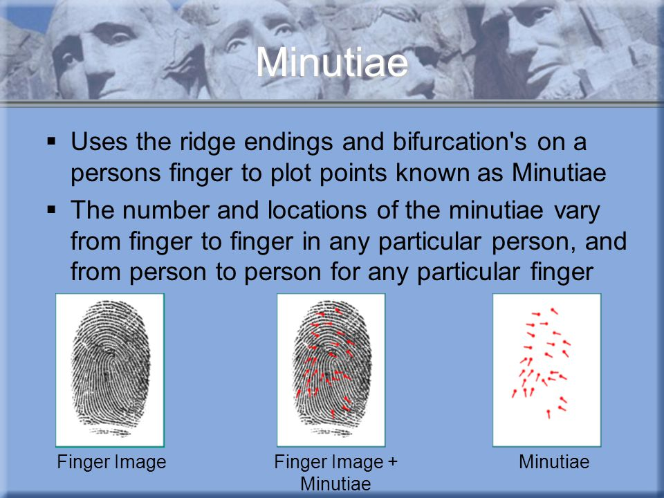 Minutiae  Uses the ridge endings and bifurcation's on a persons finger to plot points known as Minutiae  The number and locations of the minutiae va