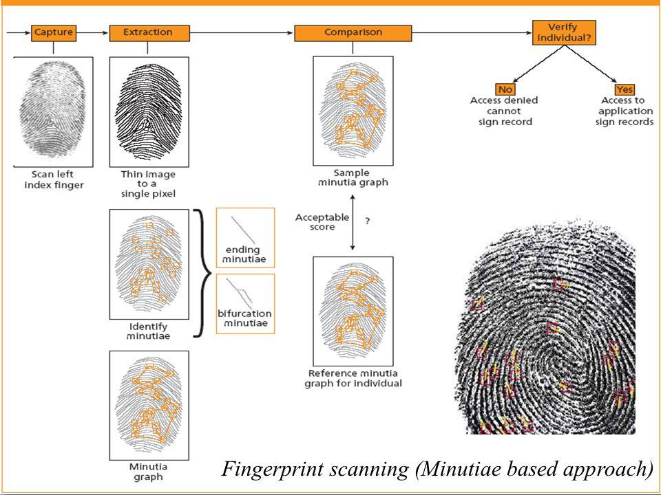 Fingerprint scanning (Minutiae based approach)