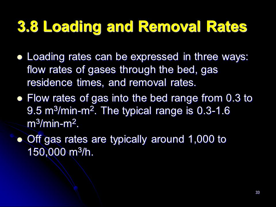 33 3.8 Loading and Removal Rates Loading rates can be expressed in three ways: flow rates of gases through the bed, gas residence times, and removal r