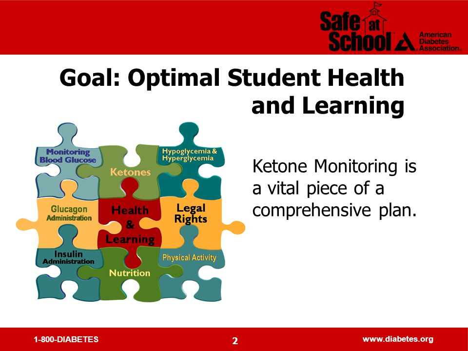 1-800-DIABETES www.diabetes.org 2 Goal: Optimal Student Health and Learning Ketone Monitoring is a vital piece of a comprehensive plan.