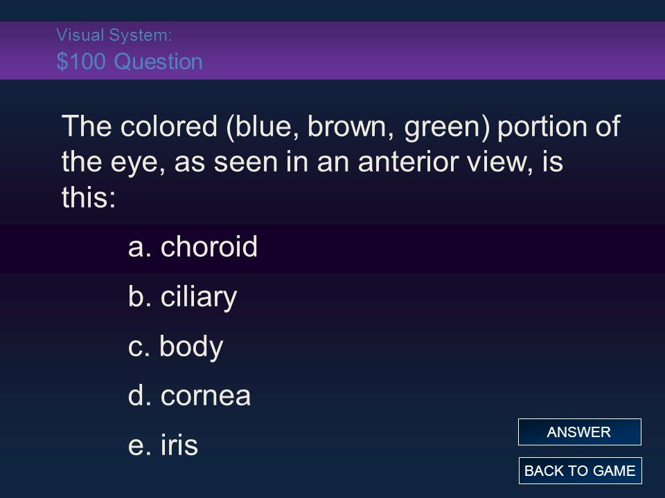 Visual System: $100 Question The colored (blue, brown, green) portion of the eye, as seen in an anterior view, is this: a. choroid b. ciliary c. body