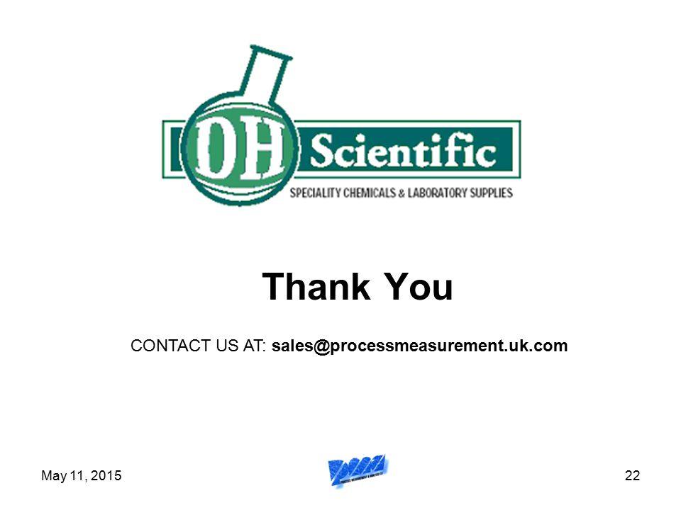May 11, 201522 Thank You CONTACT US AT: sales@processmeasurement.uk.com