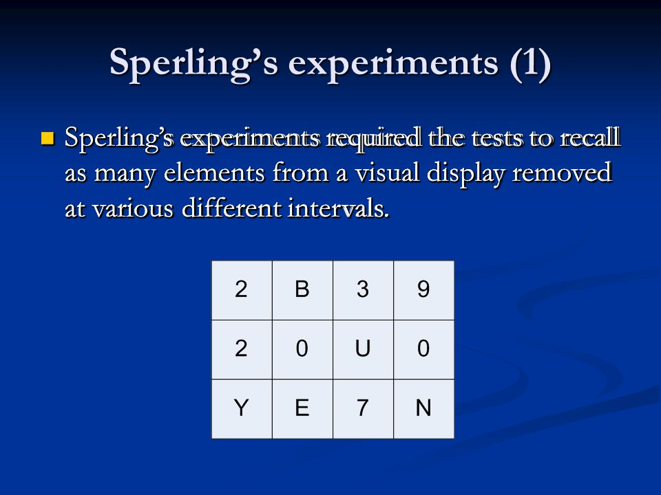 Sperling's experiments (1) Sperling's experiments required the tests to recall as many elements from a visual display removed at various different int