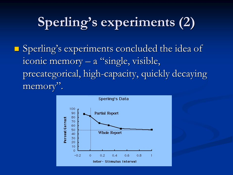 Sperling's experiments (2) Sperling's experiments concluded the idea of iconic memory – a single, visible, precategorical, high-capacity, quickly decaying memory .