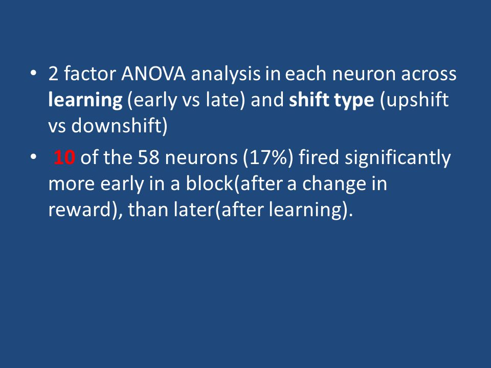 2 factor ANOVA analysis in each neuron across learning (early vs late) and shift type (upshift vs downshift) 10 of the 58 neurons (17%) fired significantly more early in a block(after a change in reward), than later(after learning).