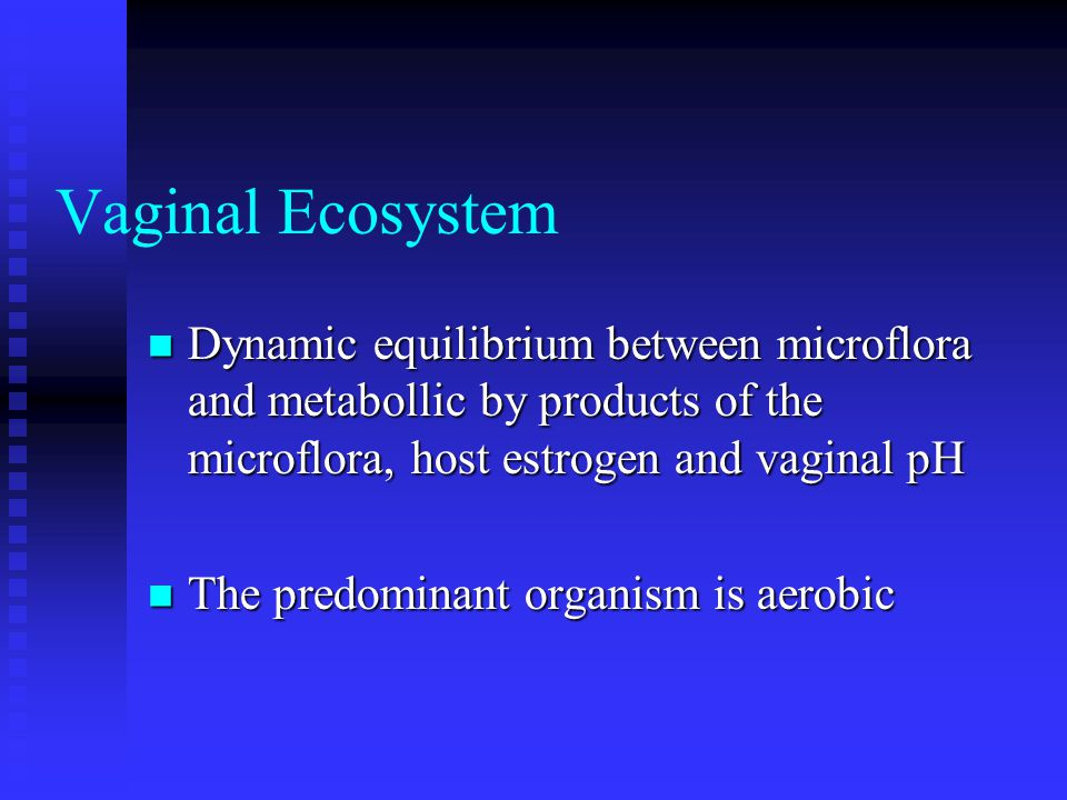 Vaginal Ecosystem Dynamic equilibrium between microflora and metabollic by products of the microflora, host estrogen and vaginal pH Dynamic equilibrium between microflora and metabollic by products of the microflora, host estrogen and vaginal pH The predominant organism is aerobic The predominant organism is aerobic