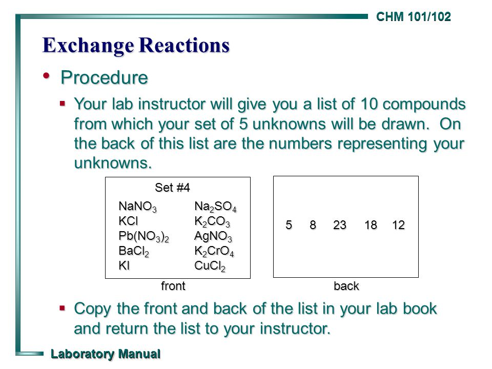 CHM 101/102 Laboratory Manual Exchange Reactions Procedure Procedure  Your lab instructor will give you a list of 10 compounds from which your set of 5 unknowns will be drawn.