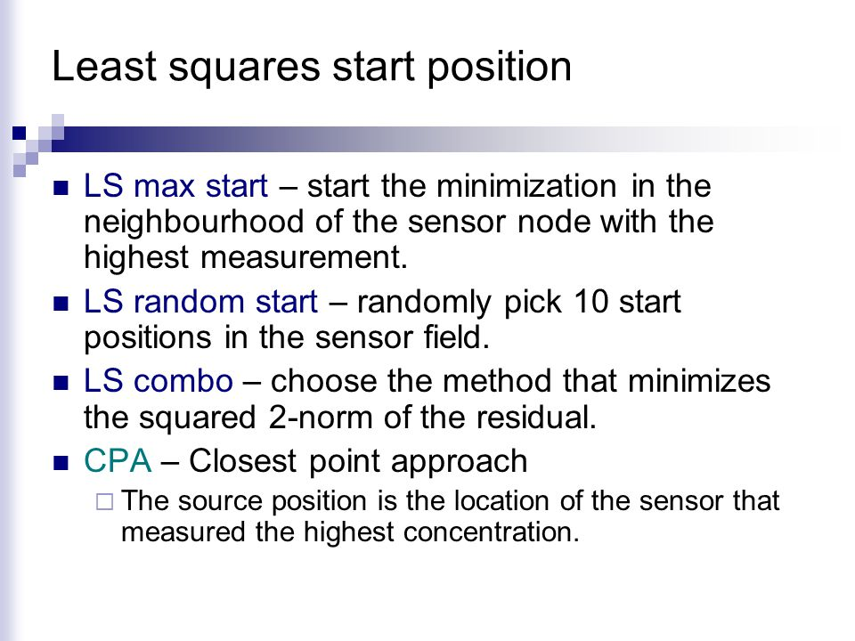 Least squares start position LS max start – start the minimization in the neighbourhood of the sensor node with the highest measurement.