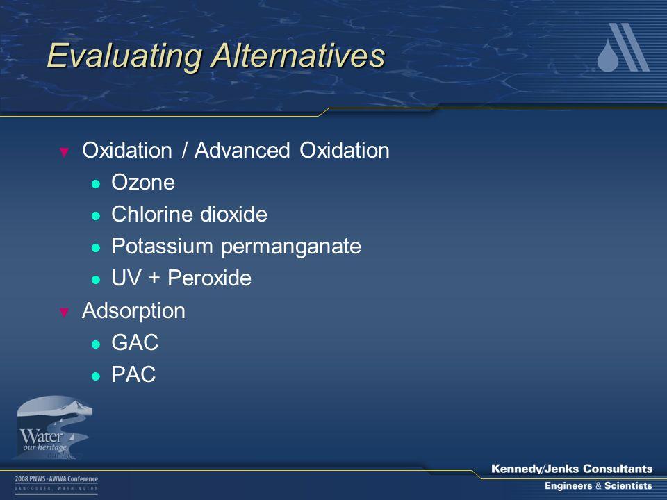 Evaluating Alternatives ▼ Oxidation / Advanced Oxidation l Ozone l Chlorine dioxide l Potassium permanganate l UV + Peroxide ▼ Adsorption l GAC l PAC