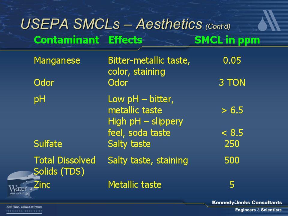 USEPA SMCLs – Aesthetics (Cont'd)