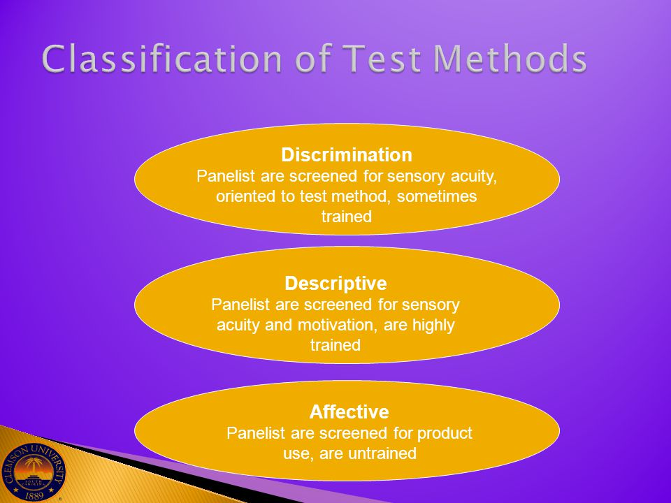 Discrimination Panelist are screened for sensory acuity, oriented to test method, sometimes trained Descriptive Panelist are screened for sensory acui