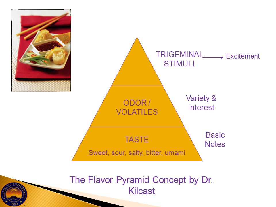 TASTE Sweet, sour, salty, bitter, umami ODOR / VOLATILES TRIGEMINAL STIMULI Excitement Variety & Interest Basic Notes The Flavor Pyramid Concept by Dr