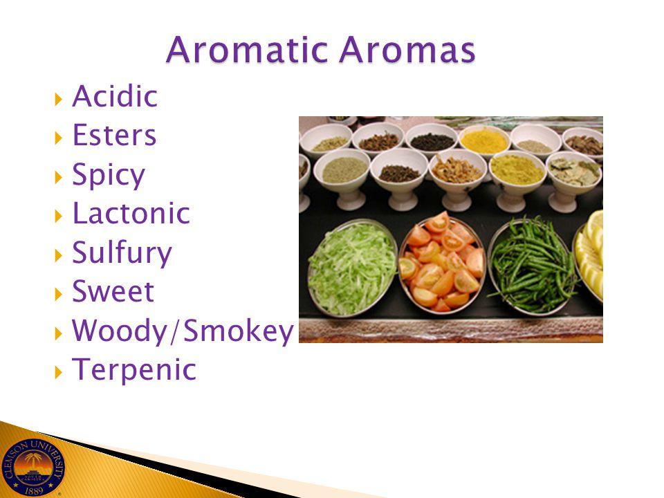  Acidic  Esters  Spicy  Lactonic  Sulfury  Sweet  Woody/Smokey  Terpenic