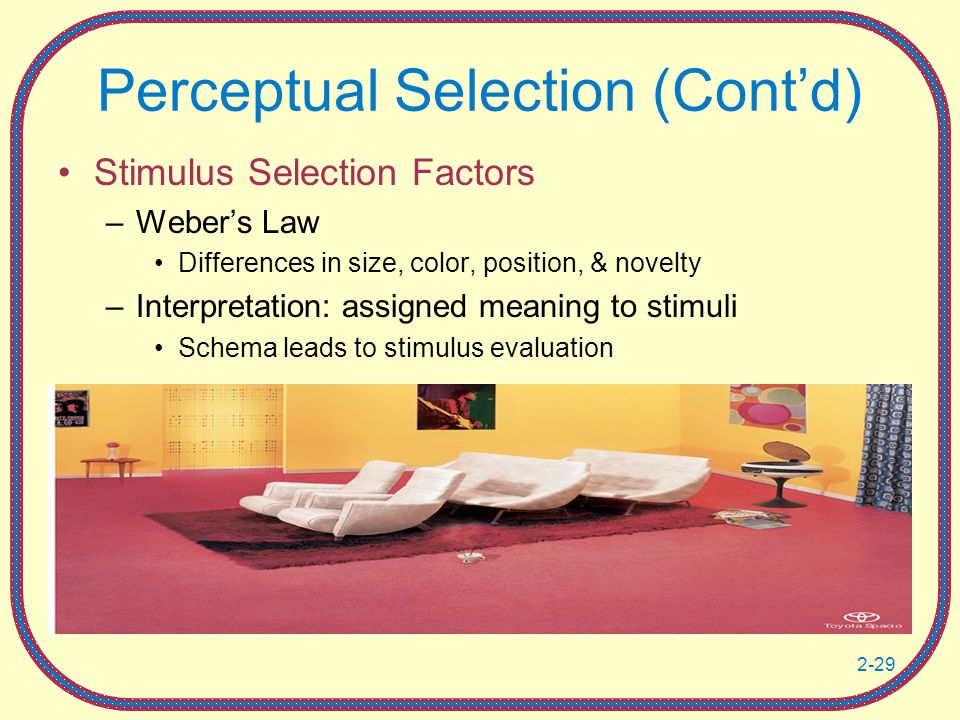 2-29 Perceptual Selection (Cont'd) Stimulus Selection Factors –Weber's Law Differences in size, color, position, & novelty –Interpretation: assigned meaning to stimuli Schema leads to stimulus evaluation