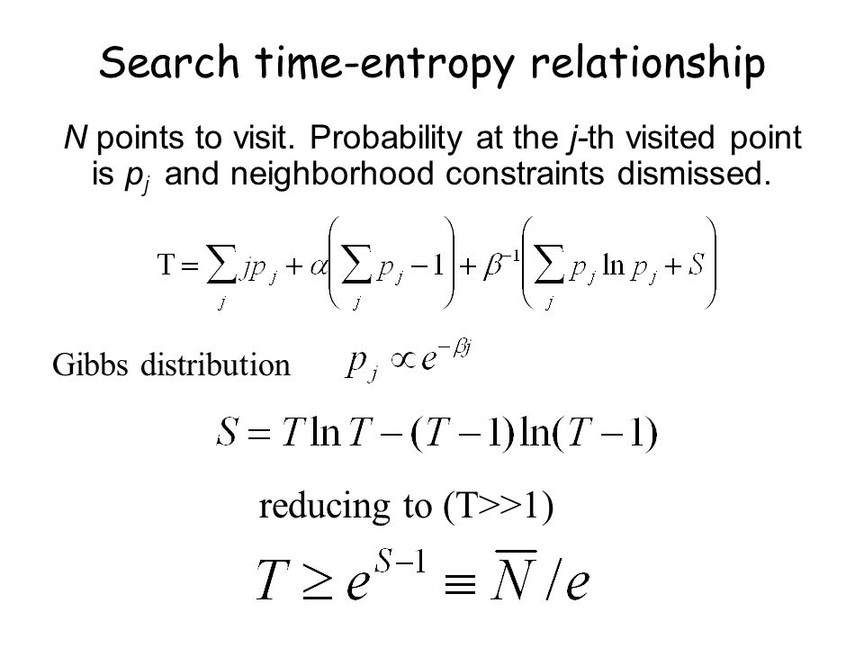 Search time-entropy relationship N points to visit.