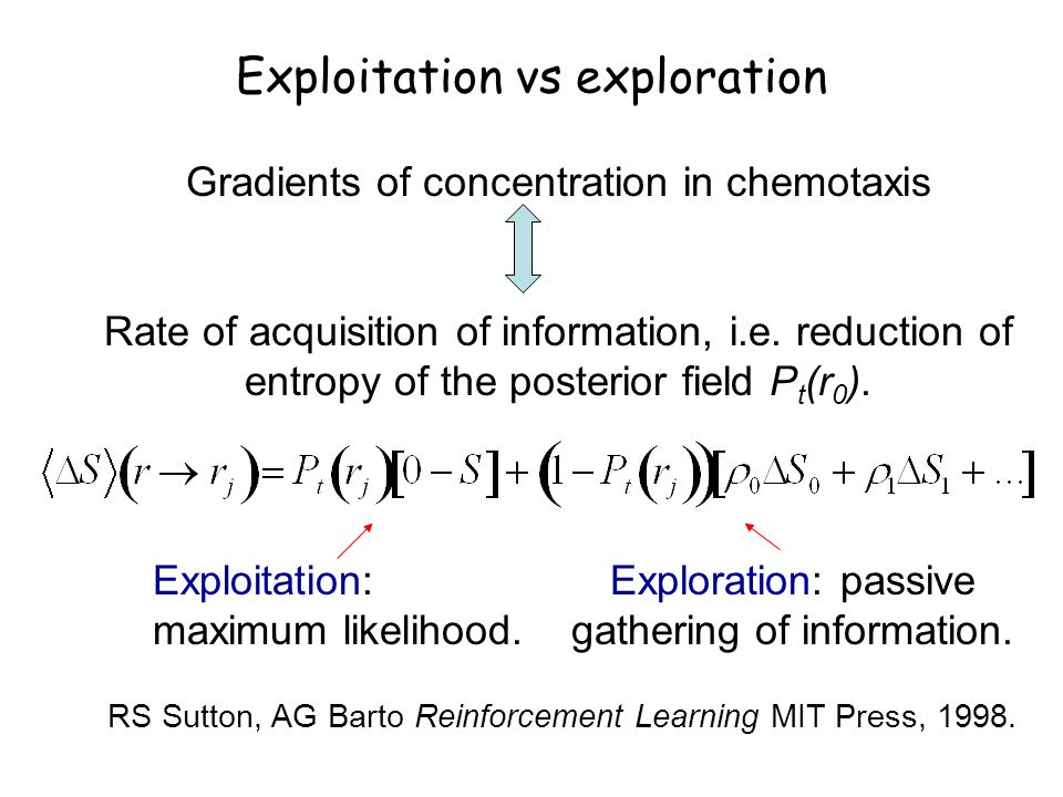 Exploitation vs exploration Gradients of concentration in chemotaxis Rate of acquisition of information, i.e.
