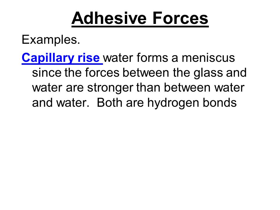 Adhesive Forces Examples.