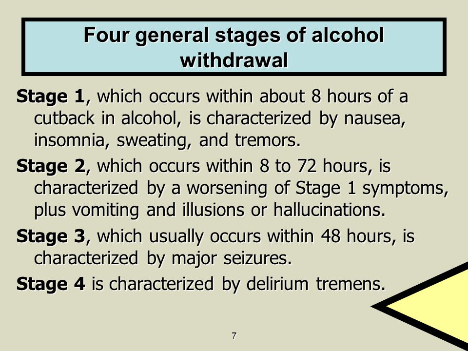 7 Four general stages of alcohol withdrawal Stage 1, which occurs within about 8 hours of a cutback in alcohol, is characterized by nausea, insomnia, sweating, and tremors.