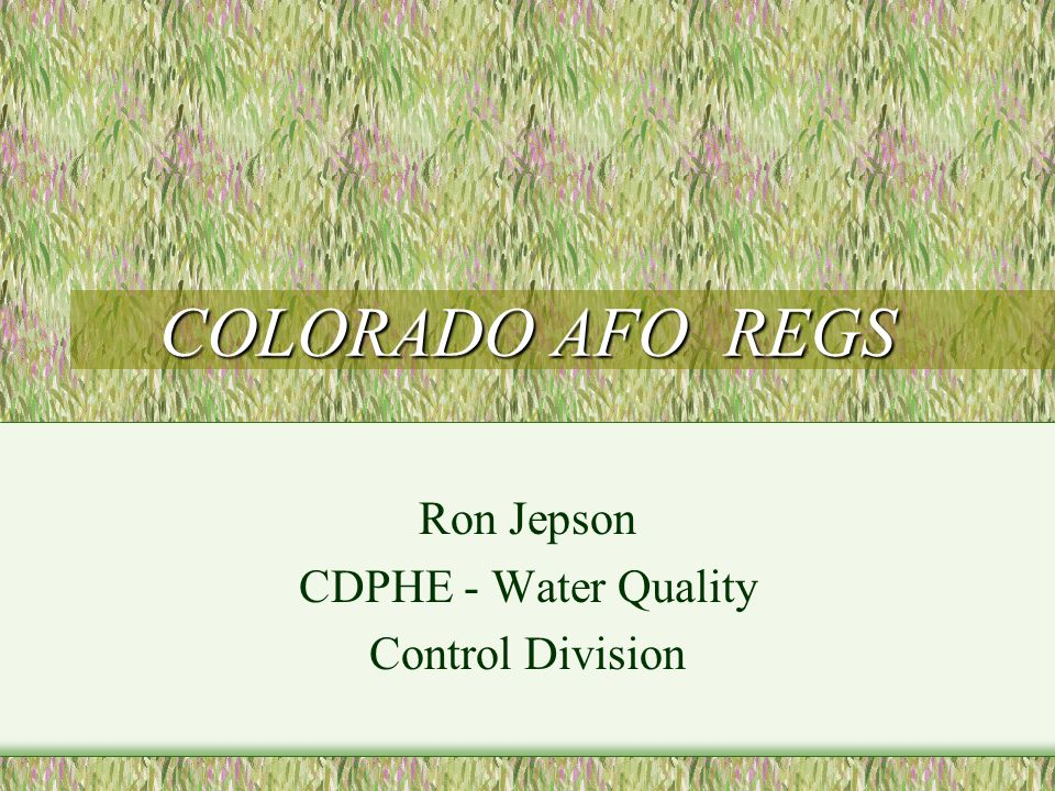 COLORADO AFO REGS Ron Jepson CDPHE - Water Quality Control Division