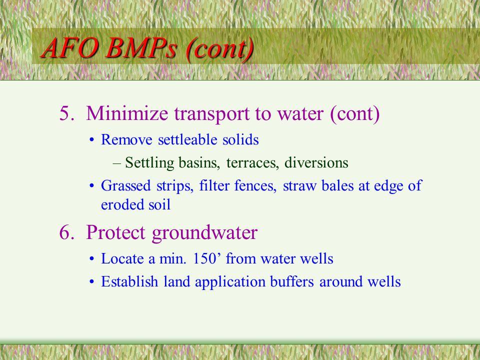 AFO BMPs (cont) 5.