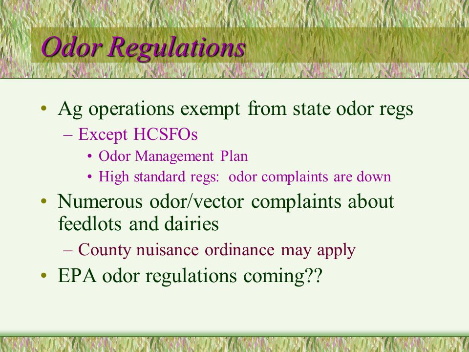 Odor Regulations Ag operations exempt from state odor regs –Except HCSFOs Odor Management Plan High standard regs: odor complaints are down Numerous odor/vector complaints about feedlots and dairies –County nuisance ordinance may apply EPA odor regulations coming