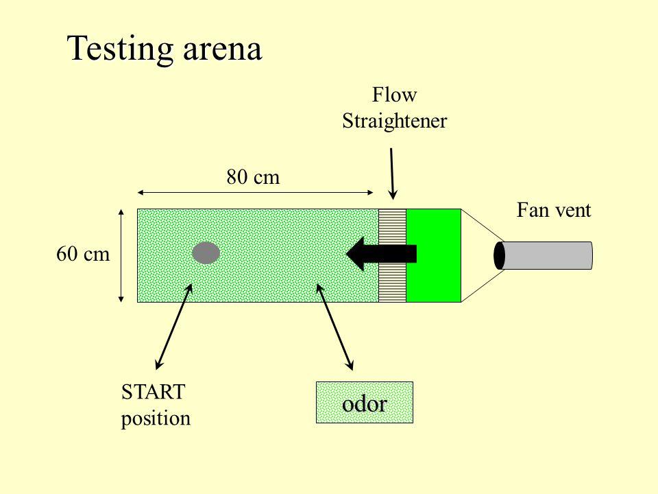 Fan vent Flow Straightener 60 cm 80 cm 60 cm START position odor Testing arena