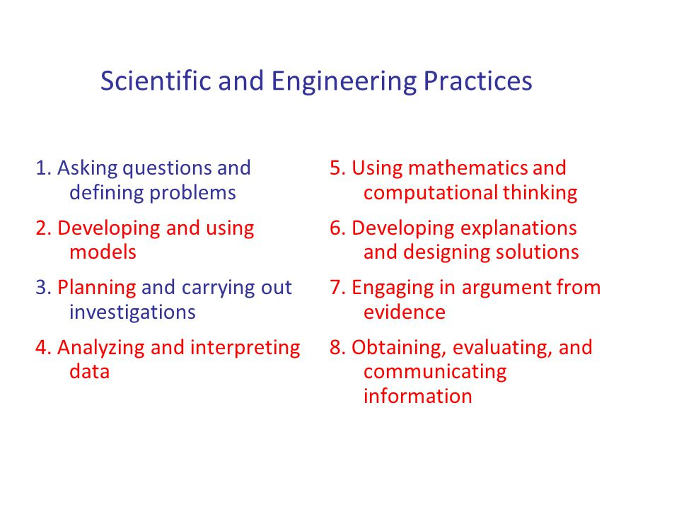 Scientific and Engineering Practices 1. Asking questions and defining problems 2.