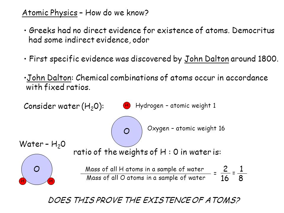 Atomic Physics – How do we know. Greeks had no direct evidence for existence of atoms.