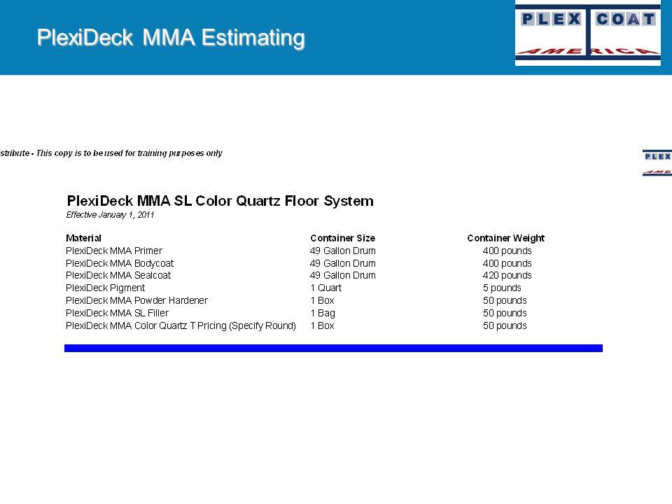 PlexiDeck MMA Estimating