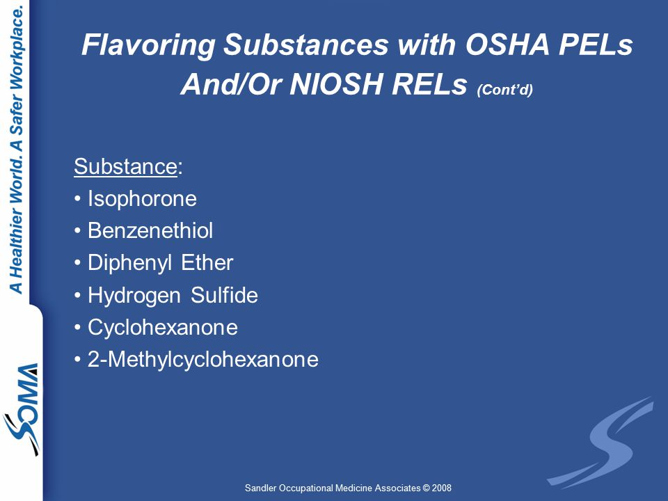 Sandler Occupational Medicine Associates © 2008 Flavoring Substances with OSHA PELs And/Or NIOSH RELs (Cont'd) Substance: Isophorone Benzenethiol Diphenyl Ether Hydrogen Sulfide Cyclohexanone 2-Methylcyclohexanone