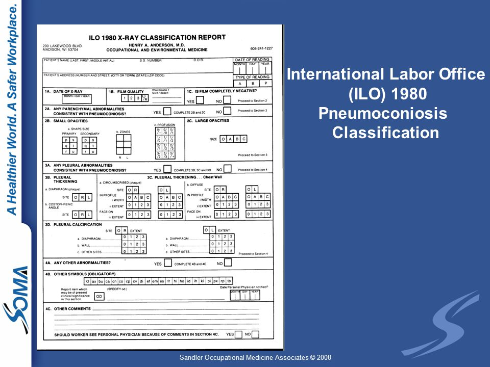 Sandler Occupational Medicine Associates © 2008 International Labor Office (ILO) 1980 Pneumoconiosis Classification