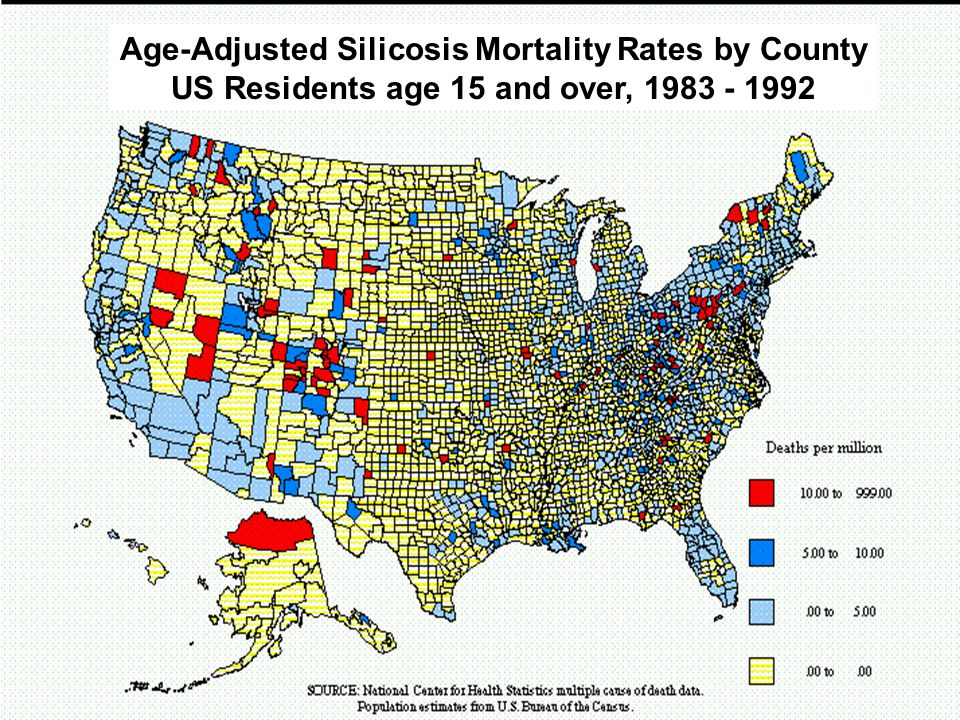 Sandler Occupational Medicine Associates © 2008 Age-Adjusted Silicosis Mortality Rates by County US Residents age 15 and over, 1983 - 1992