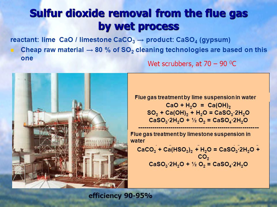 Sulfur dioxide removal from the flue gas by wet process Füstgázkezelés vizes mész szuszpenzióval CaO + H 2 O = Ca(OH) 2 SO 2 + Ca(OH) 2 + H 2 O = CaSO 3 ∙2H 2 O CaSO 3 ∙2H 2 O + ½ O 2 = CaSO 4 ∙2H 2 O ----------------------------------------------------------- Füstgázkezelés vizes mészkő szuszpenzióval CaCO 3 + H 2 O + 2 SO 2 = Ca(HSO 3 ) 2 + CO 2 CaCO 3 + Ca(HSO 3 ) 2 + H 2 O = CaSO 3 ∙2H 2 O + CO 2 CaSO 3 ∙2H 2 O + ½ O 2 = CaSO 4 ∙2H 2 O reactant: lime CaO / limestone CaCO 3 → product: CaSO 4 (gypsum) Cheap raw material → 80 % of SO 2 cleaning technologies are based on this one Wet scrubbers, at 70 – 90 0 C efficiency 90-95% Flue gas treatment by lime suspension in water Flue gas treatment by limestone suspension in water