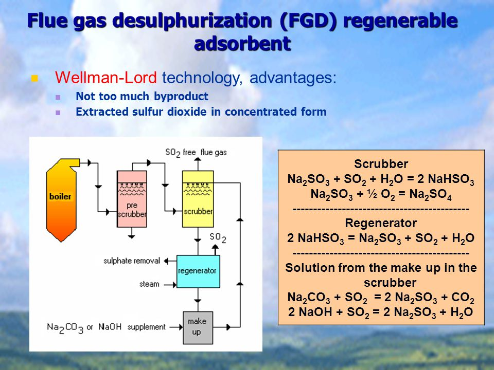 Flue gas desulphurization (FGD) regenerable adsorbent Scrubber Na 2 SO 3 + SO 2 + H 2 O = 2 NaHSO 3 Na 2 SO 3 + ½ O 2 = Na 2 SO 4 ------------------------------------------- Regenerator 2 NaHSO 3 = Na 2 SO 3 + SO 2 + H 2 O ------------------------------------------- Solution from the make up in the scrubber Na 2 CO 3 + SO 2 = 2 Na 2 SO 3 + CO 2 2 NaOH + SO 2 = 2 Na 2 SO 3 + H 2 O Wellman-Lord technology, advantages: Not too much byproduct Extracted sulfur dioxide in concentrated form