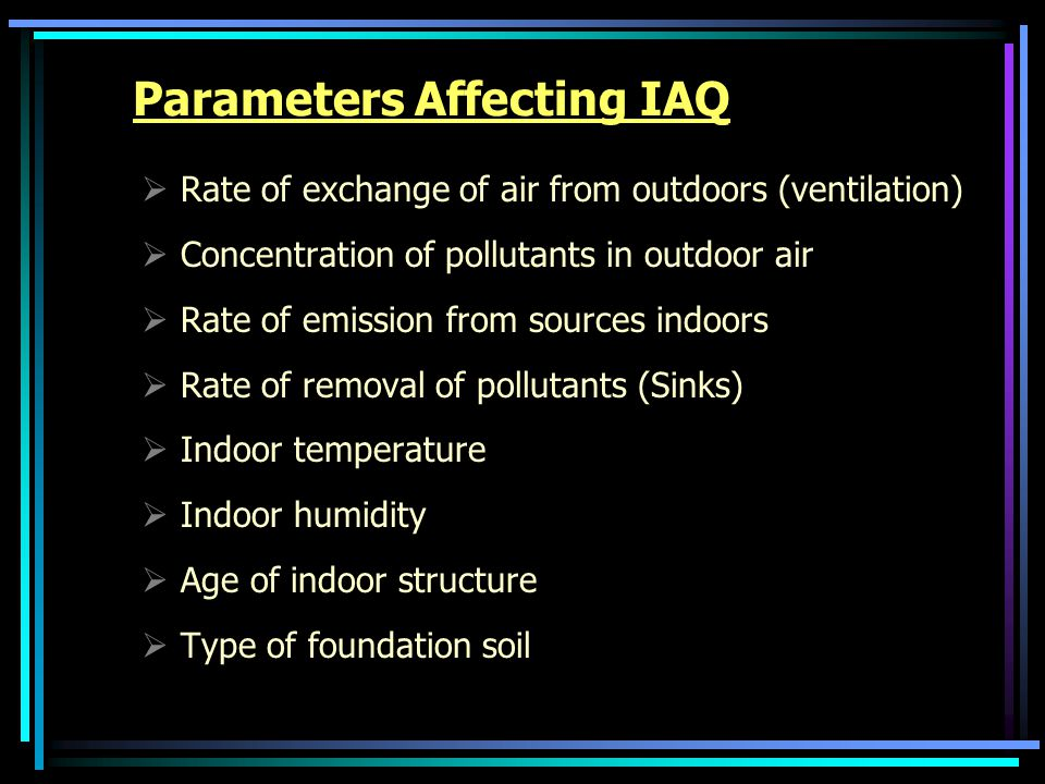 Parameters Affecting IAQ  Rate of exchange of air from outdoors (ventilation)  Concentration of pollutants in outdoor air  Rate of emission from sources indoors  Rate of removal of pollutants (Sinks)  Indoor temperature  Indoor humidity  Age of indoor structure  Type of foundation soil