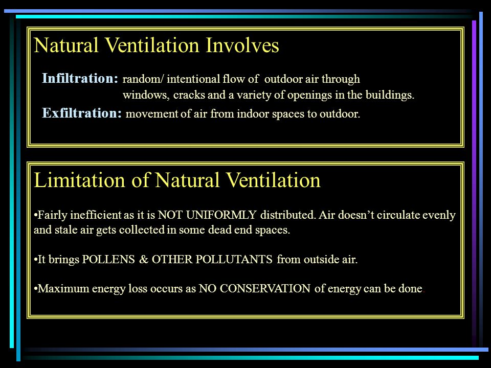Natural Ventilation Involves Infiltration: random/ intentional flow of outdoor air through windows, cracks and a variety of openings in the buildings.