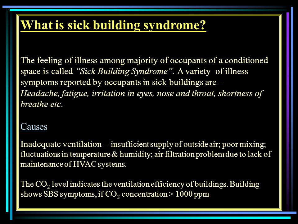 What is sick building syndrome.
