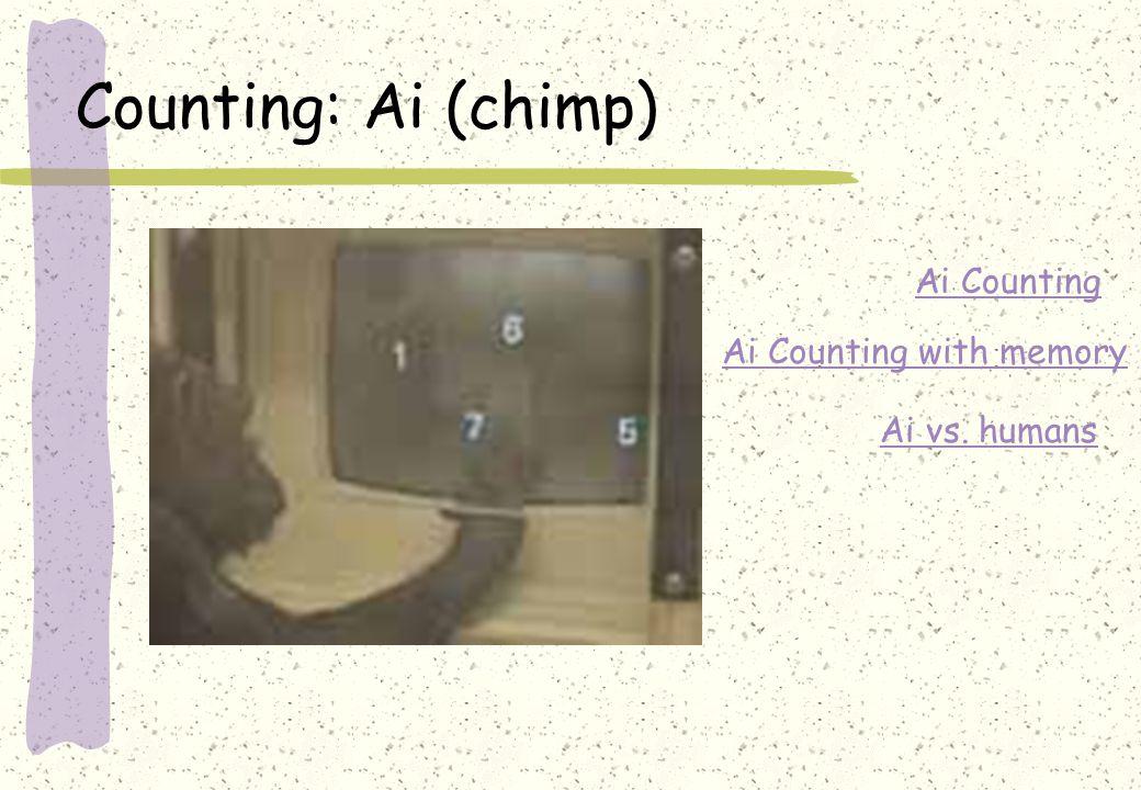 Counting: Ai (chimp) Ai Counting Ai Counting with memory Ai vs. humans